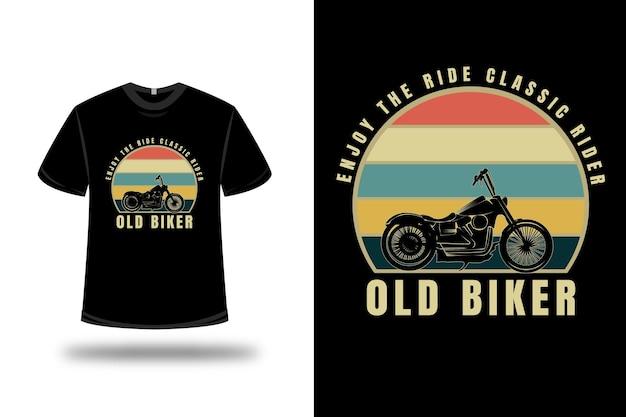 T-shirt harley enjoy the ride classic rider old biker kleur oranje creme en groen