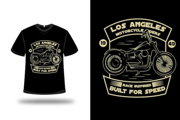 T-shirt harley motorrijders rijst geïnspireerd gebouwd voor snelheid kleur geel