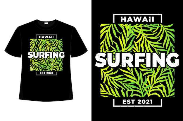 T-shirt hawaii surfen blad groene gradiënt stijl retro vintage illustratie