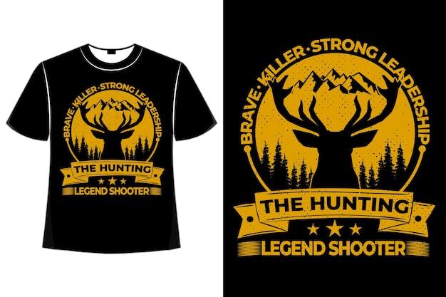 T-shirt hert dappere moordenaar jachtschutter grenen vintage