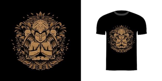 T-shirt hoek illustratie met gravure ornament