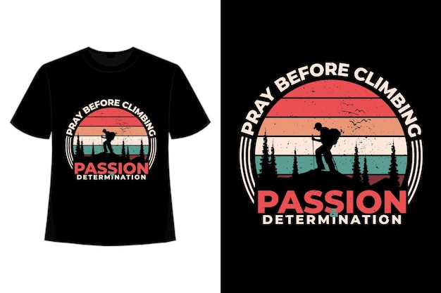 T-shirt klimmen berg pijnboom retro vintage