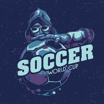 T-shirt labelontwerp met illustratie van de voetballer die de bal vasthoudt