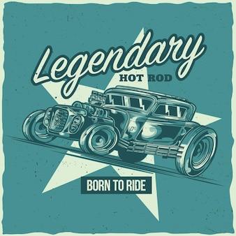 T-shirt labelontwerp met illustratie van hotrod-auto