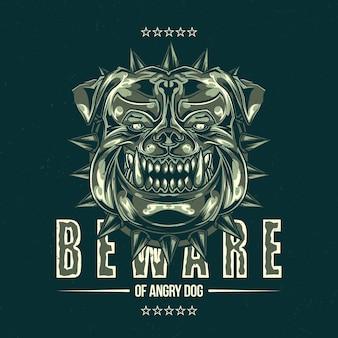 T-shirt labelontwerp met illustratie van pitbull hoofd