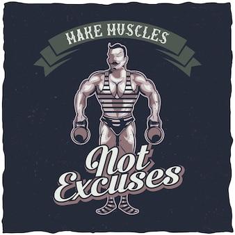 T-shirt labelontwerp met illustratie van vintage sportman
