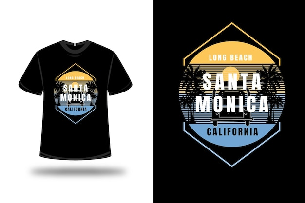 T-shirt lang strand santa monica california kleur geel en blauw