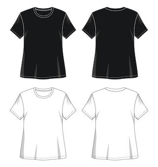T-shirt meisje voorkant achterkant sjabloon