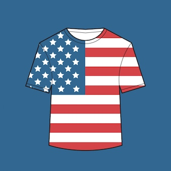 T-shirt met amerikaanse vlag amerikaanse onafhankelijkheidsdag shirts viering 4 juli concept illustratie