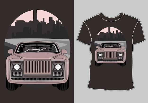 T-shirt met artwork klassieke, vintage, retro auto in de stad