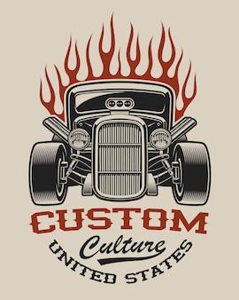 T-shirt met een hot rod in vintage stijl op de witte achtergrond.