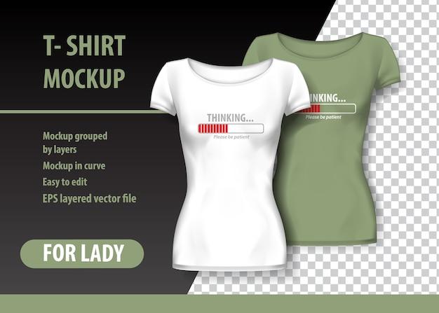 T-shirt mockup met laden en grappige uitdrukking in twee kleuren. mockup gelaagd en bewerkbaar.