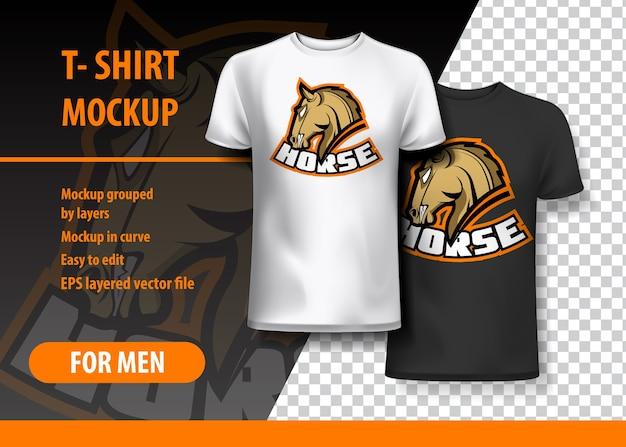 T-shirt mockup met paarduitdrukking in twee kleuren