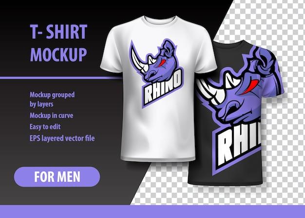 T-shirt mockup met rhino-uitdrukking in twee kleuren