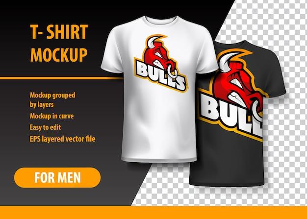 T-shirt mockup met stieruitdrukking in twee kleuren