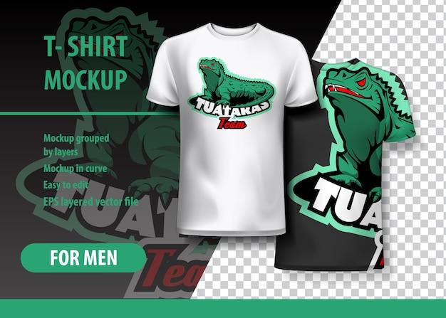 T-shirt mockup met tuataras-uitdrukking in twee kleuren