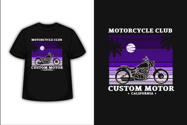 T-shirt motorclub road race legende aangepaste motor kleur paars verloop