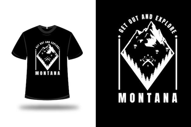 T-shirt mountain ga erop uit en verken montana kleur wit