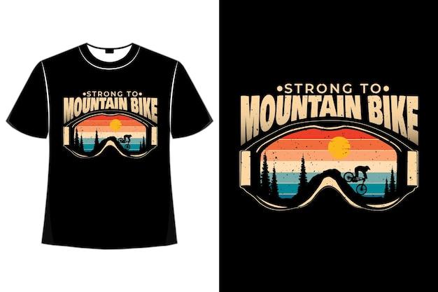 T-shirt mountain grenen fiets retro stijl
