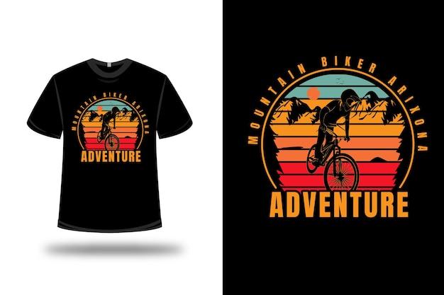 T-shirt mountainbiker arizona avontuur kleur geel rood en groen