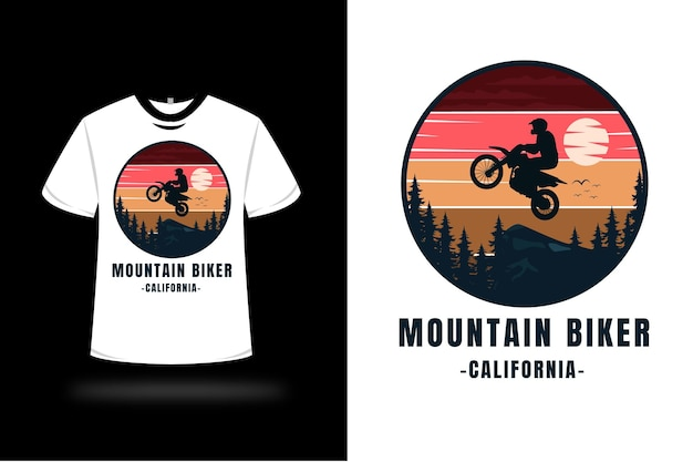 T-shirt mountainbiker california kleur rood oranje geel en donkerblauw