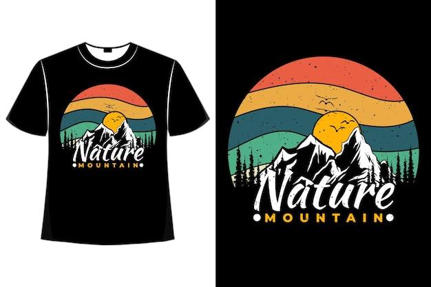 T-shirt natuur berg dennenboom retro vintage