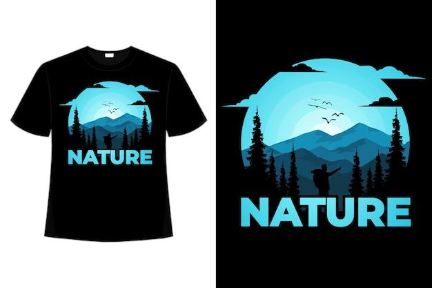 T-shirt natuur grenen avontuur berg hand getekende stijl vintage illustratie