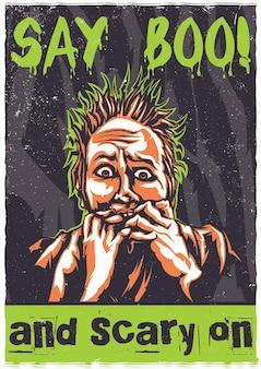 T-shirt of poster met afbeelding van bange persoon