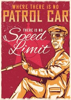 T-shirt of poster met illustratie van chauffeur