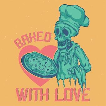 T-shirt of poster met illustratie van dode chef-kok