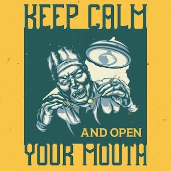 T-shirt of poster met illustratie van enge tandarts