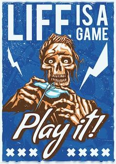T-shirt of poster met illustratie van skelet dat videogames speelt