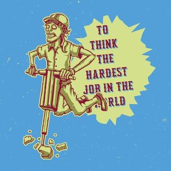 T-shirt of poster met illustratie van wegenwerker