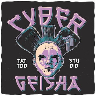 T-shirt of posterontwerp met afbeelding van cybergeisha