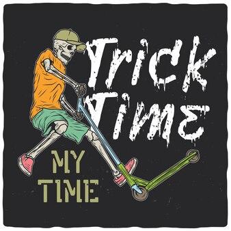 T-shirt of posterontwerp met afbeelding van een skelet op een scooter