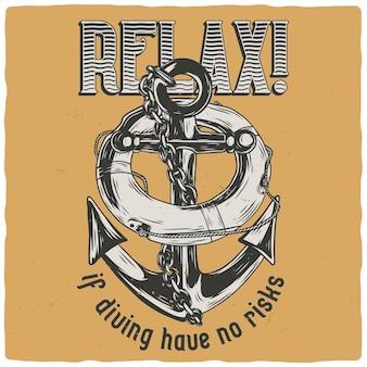T-shirt of posterontwerp met afbeelding van reddingsboei en anker