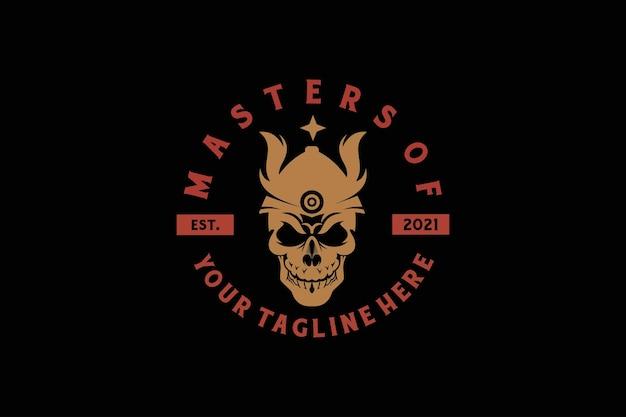 T-shirt of posterontwerp met een afbeelding van een vikingschedel in een helm.