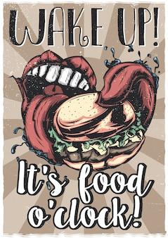 T-shirt of posterontwerp met illustraion van grote mond die grote hamburger eet