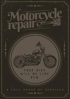 T-shirt of posterontwerp met illustraion van motorfiets.