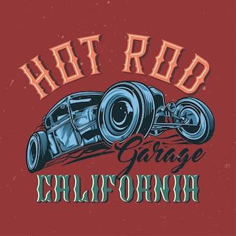 T-shirt of posterontwerp met illustratie van aangepaste hotrod. hand getekende illustratie.