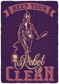 T-shirt of posterontwerp met illustratie van een robot met stofzuiger.