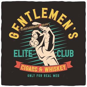 T-shirt of posterontwerp met illustratie van hand met sigaar