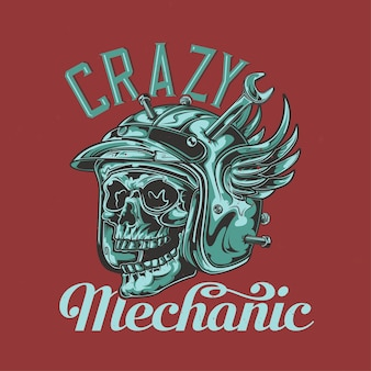 T-shirt of posterontwerp met illustratie van mechanische schedel
