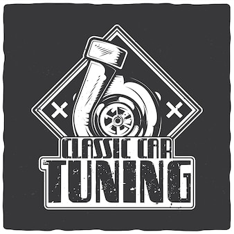 T-shirt of posterontwerp met illustratie van motorturbine
