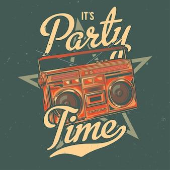 T-shirt of posterontwerp met illustratie van old school boombox