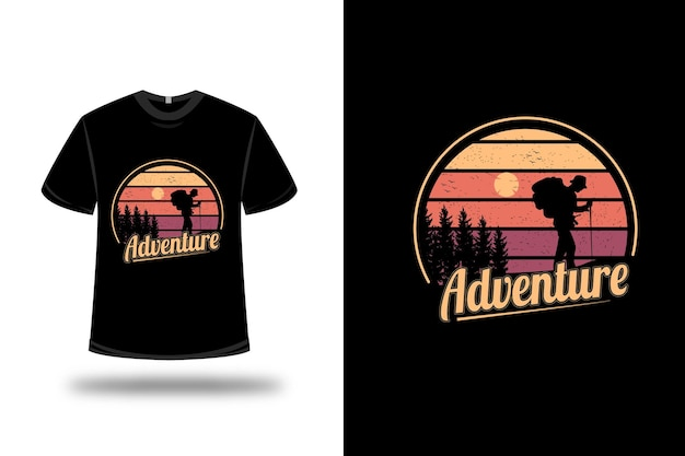 T-shirt ontwerp. avontuur in geel en oranje