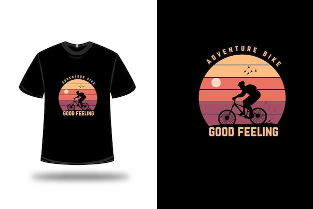 T-shirt ontwerp. avontuurlijke fiets goed gevoel in geel en oranje