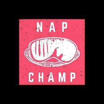 T-shirt ontwerp dutje kampioen met blinde vouw en zwarte achtergrond vintage illustratie