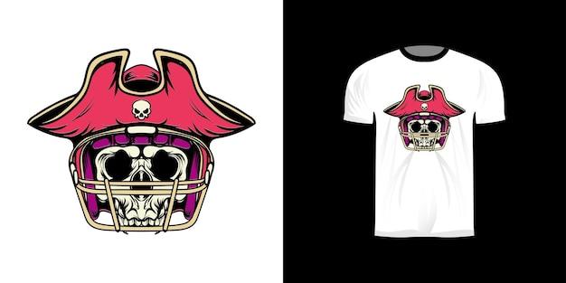 T-shirt ontwerp illustratie piraat koning amerikaans voetbal met retro stijl