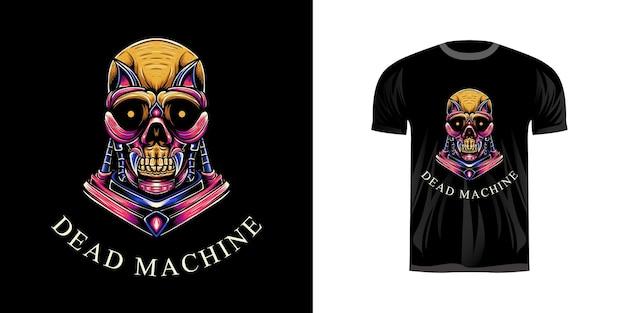 T-shirt ontwerp illustratie schedel machine